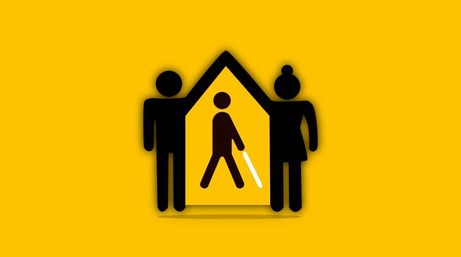 illustration de deux personnes qui se tiennent la main formant un toit de maison et d'une personne aveugle avec une canne blanche